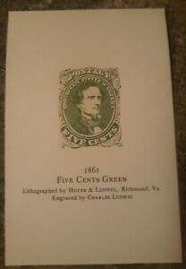 Dietz Confederate Die Proof Card From 1929 Facsimile  Reproduction Card Mint...