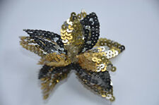 BLACK GOLD SILVER Beaded Sequin Applique Embroidery Flower Lily Star Pin Badge