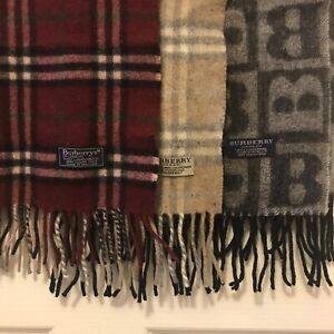 3 Vintage Burberrys Scarfs Red And Cream Check Black B Lambswool Authentic
