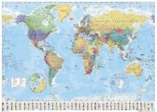 New World Map with Flags World Map Poster