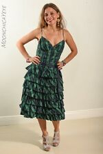 Vintage 90's Sz 6 Betsey Johnson Tartan Plaid Tafetta Ruffle Party Dress Green