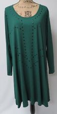 HOLLAND DESIGNER YOEK,XX LARGE BOTTLE GREEN VISCOSE TUNIC WITH APPLIED DESIGN