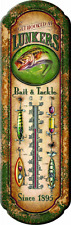 Outdoor Tin Thermometer Deck Home Decor Patio Nostalgic Fishing Sign Hanging New