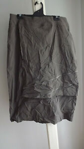 Brown Decorative Zip Flap Stretch FUNKY Skirt .... TS .... Size 16   #A0821