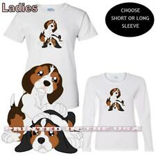 Beagle Puppies Dog Breed Puppy Pair Cute Graphic Art Ladies Sleeve T Shirt