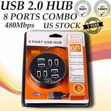 High Speed 8 Ports USB 2.0 Multi Hub Splitter for Desktop PC Laptop Adapter U8N