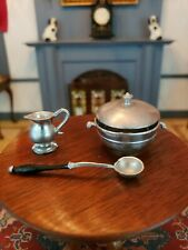 DOLLHOUSE MINIATURE VINTAGE GERMANY SOFT METAL KITCHEN DINING TABLE ITEMS