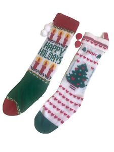 Christmas Stockings 2 Knit Happy Holidays Candles Trees Mom Pom Poms Long