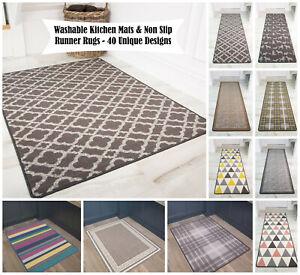 Machine Washable Anti Slip Kitchen Rugs Cheap Durable Easy Clean Hallway Mat UK