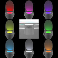 Toilet Night Light 8 Color LED Motion Activated Sensor Bathroom Toliet Bowl Lamp