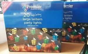 2 x Boxes of 20 Premier Outdoor Large Lantern LED Multi Action Party Lights