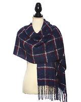 Acrylic Knit Boucle Multi Check Scarf Scarves Shawl Fringe Trim Wrap Winter NVY