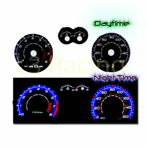 03-08 Hyndai Tiburon w/Tach Reverse BLUE El Glow Black Gauge Face