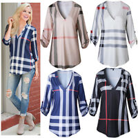 Women's Casual Tunic Stripe Pattern 2/3 Sleeve V Neck Blouse Top