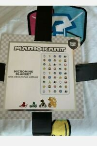 "NINTENDO Mario Kart Renegade Round Up Blanket Multicolored 62"" x 90"" New"
