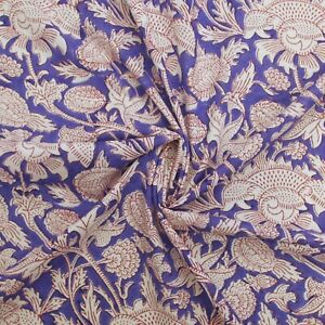 Indian Hand Block Print Blue Floral100% Cotton Women Dress Fabric Cloth By Meter