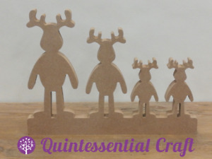 Wooden MDF Reindeer Family Freestanding on Plinth 18mm Christmas Decorations