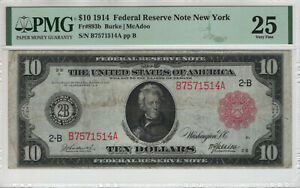 1914 $10 FEDERAL RESERVE NOTE RED SEAL FR.893b NEW YORK PMG VERY FINE 25 (514A)