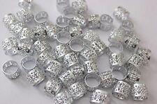 120 Hair Dreadlocks Bead Cuff Clip.Decoration Filigree Tube Silver Color 10mm