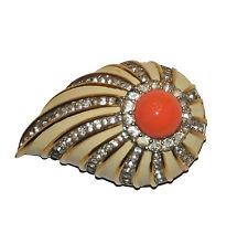 Jomaz Vintage  Brooch with Faux Coral Cabochon