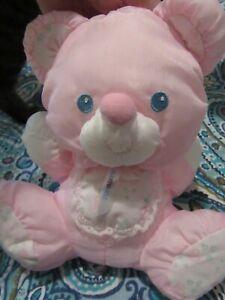 Fisher Price Pink Baby Bear Pet Puffalump Bib Lovey Rattle 1214 Very Clean