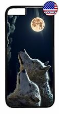 For iPhone 7 6 6s Plus 5 5s 5c 4s Wolf Moon Dog Wild Animal Rubber Case Cover