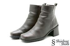ECCO 37 Womens Booties Boots Size 6 6.5 Brown Leather Comfort Casual Block Heels