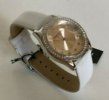 NEW! KENNETH COLE RHINESTONES-ACCENTED WHITE LEATHER STRAP WATCH $95 SALE