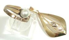 Antikes Schmuck Set 585/Gold-5,2gr. Ring mit Anhänger-Naturperlen und Diamant