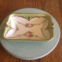 Vtg Osborne Ash Tray hand painted trinket dish gold trimmed floral design