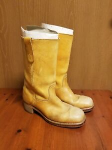 Vintage Landis Men's Tan Leather Motorcycle Boots Size US 9 Man Made Material
