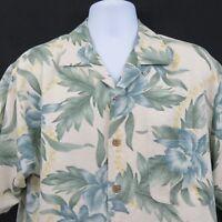 Orchid Floral Print Textured 100% Silk Mens M Hawaiian Aloha Shirt Blue Green
