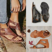 Women's Summer Beach Open Toe Canvas Casual Sandals Flat Ankle Rome Strap Shoes