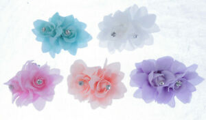 7cm double Flower Hair Clip Soft & with crystals Hair Slides clips  Wedding