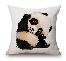 "Beige Panda Animal 17"" Square Cushion Cover Pillow Case Home Decor Birthday Gift"
