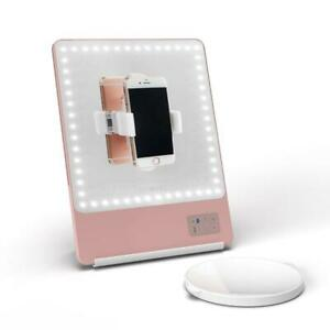 RIKI SKINNY LED Vanity Mirror - Rose Gold with 5x Magnification