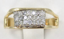 14kt Solid Yellow Gold Diamond Cluster Pyramid Band Ring ~ 7 3/4 ~ 4.9 Grams