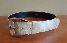 Women's Escada Leather Croc Tan/Cream/Yellow Belt in size 36 (Extra Small)