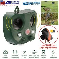 Solar Ultrasonic Pest Animal Repeller Cat Rodent Rat Squirrel Raccoon Control US