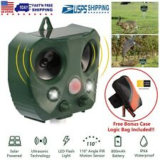 Solar Ultrasonic Pest Animal Repeller Cat Rodent Rat Squirrel Raccoon Control US