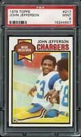 1979 Topps FB Card #217 John Jefferson San Diego Chargers ROOKIE PSA MINT 9 !!!!
