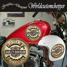 3 ADESIVI STICKERS STAMPA DIGITALE TRADE MARK HARLEY DAVIDSON STILE VINTAGE