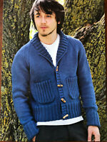KNITTING PATTERN Mens Ribbed Detail Cardigan Shawl Collar Pockets Sublime DK