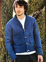 KNITTING PATTERN Mens Ribbed Detail Cardigan Shawl Collar Pockets Sublime DK