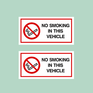 2x No Smoking in This Vehicle Stickers 120x60mm - Car, Van ,Taxi, HGV