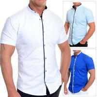 Uomo Elegante Camicia a Manica Corta Smart Colletto Alla Coreana Cotone Bianco