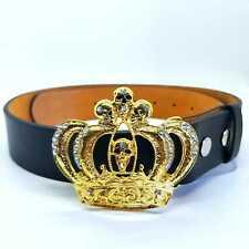 Corona De Oro Calavera Hebilla Cinturón Dorado Bling Diamante Punk Rock Gótico