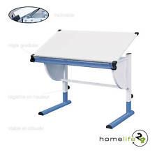 Très beau bureau enfant métal laqué blanc bleu panneaux de particules réglabl...