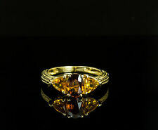 14K Yellow Gold Citrine 3 Stone Engraved Ring