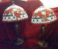 New Set of 2 Authentic Beautiful Danbury Mint Betty Boop Stained Glass Lamps